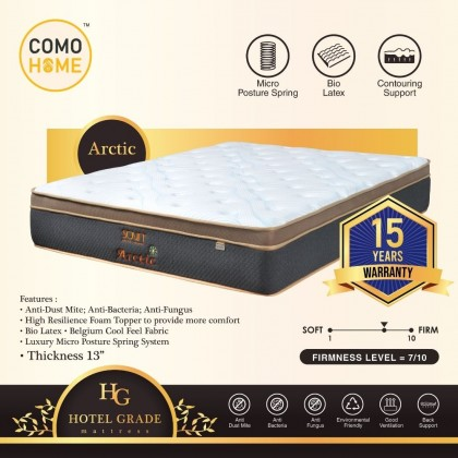 Como Home Hotel Grade 13 inch (Arctic)Luxury Mattress with Bio Latex Topper 15Y Warranty (Delivery with own Logistic)