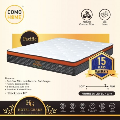 Como Home Hotel Grade 10 inch (Pacific) Natural Coconut Fibre Mattress 15Y Warranty (Delivery with own Logistic)