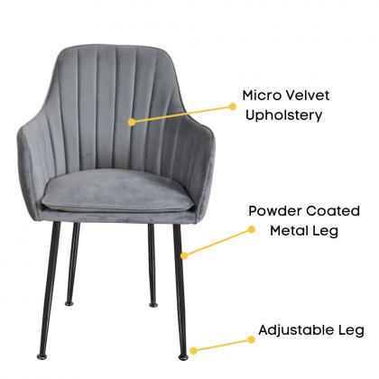 Como Home Chair for Dressing   Dining   Study (336) Micro Velvet Upholstery